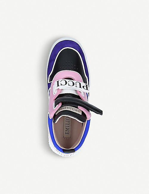 PUCCI Combo scarf high-top leather and suede trainers