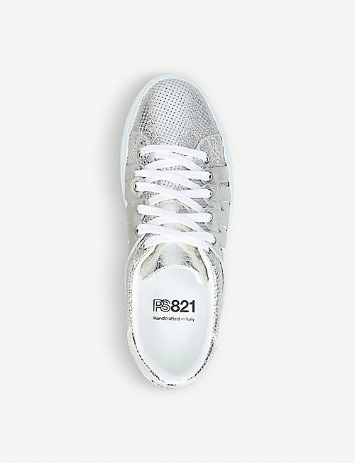 PS821 Alpha metallic leather trainers
