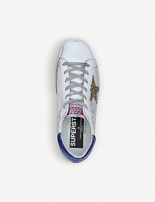 GOLDEN GOOSE Superstar R67 glitter star-embellished leather trainers