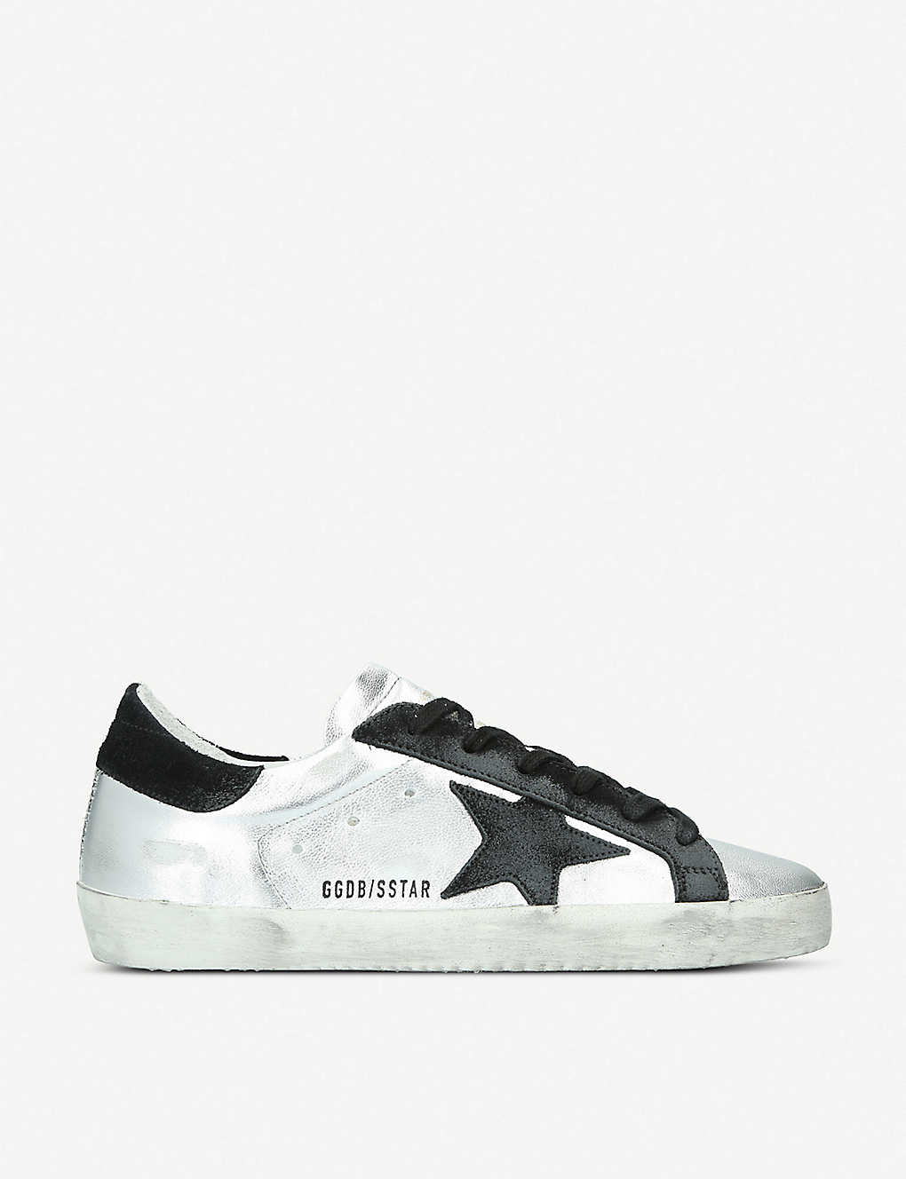 GOLDEN GOOSE: Superstar A8 distressed metallic-leather trainers