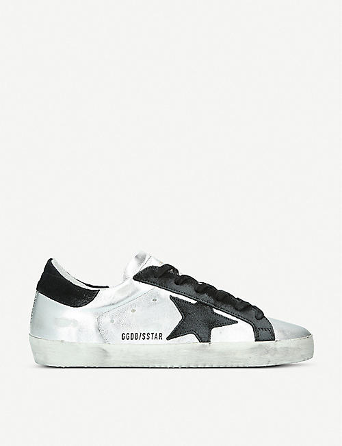 GOLDEN GOOSE Superstar A8 distressed metallic-leather trainers
