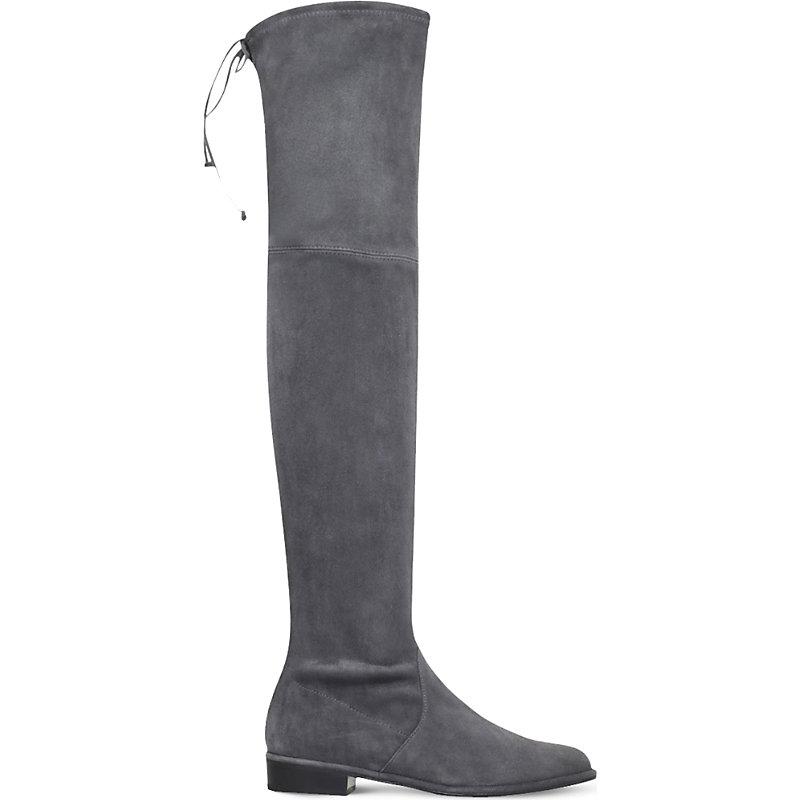 Suede Lowland Thigh High Boots, Grey/Dark