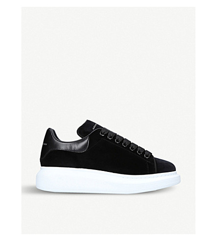 ALEXANDER MCQUEEN Show velvet and leather platform trainers (Black f047a453b8