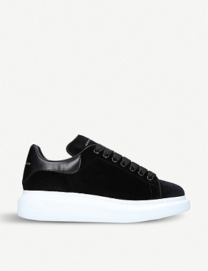 ALEXANDER MCQUEEN Runway leather and velvet platform trainers