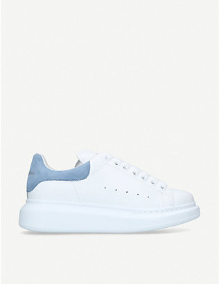 ALEXANDER MCQUEEN: Runway suede-trimmed leather platform trainers