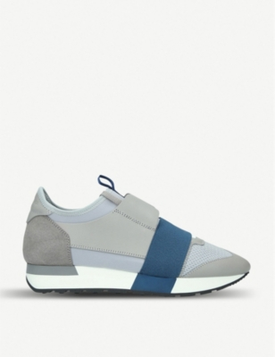 BALENCIAGA Womens Race leather, suede and mesh trainers