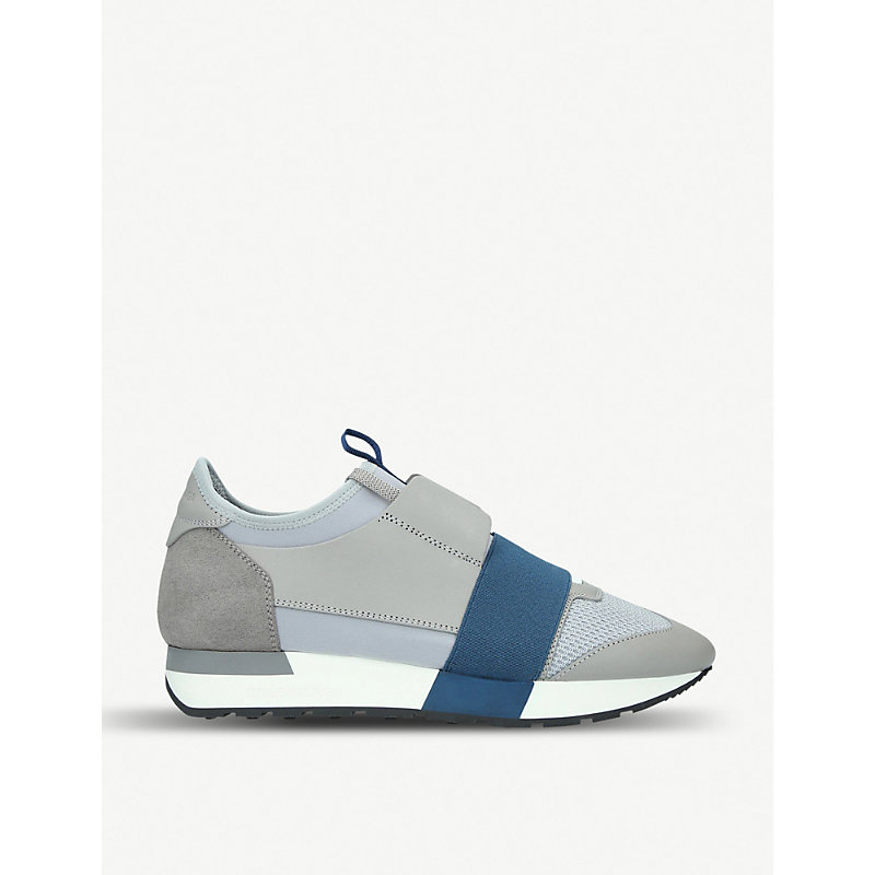 BALENCIAGA   Womens Race Leather, Suede And Mesh Trainers   Goxip