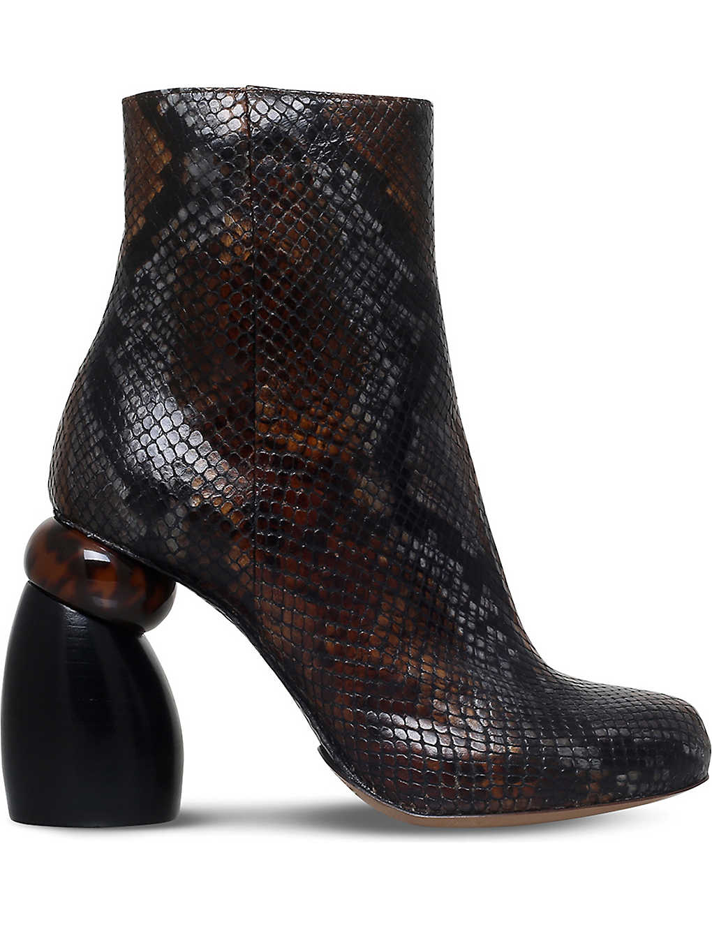 5e44f2a20ad8d7 DRIES VAN NOTEN - Snake-embossed leather ankle boots
