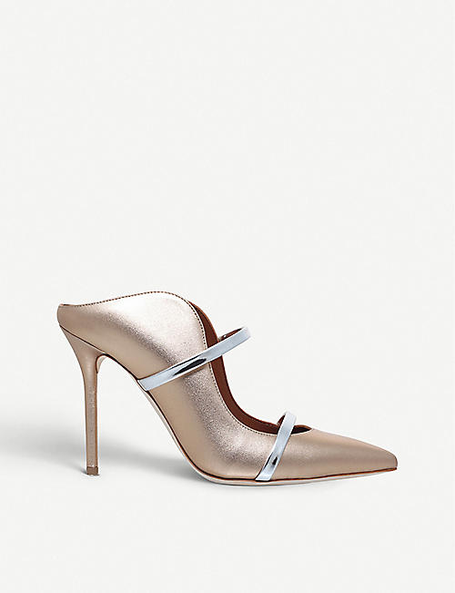 Malone Souliers Woman Metallic Leather And Suede Pumps Midnight Blue Size 36.5 Malone Souliers cL1g092