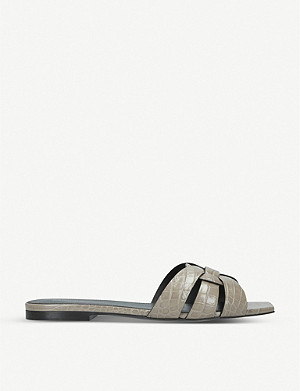 SAINT LAURENT Nu Pieds 05 crocodile-embossed leather sandals