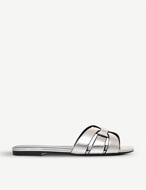 SAINT LAURENT Nu Pieds 05 metallic-leather sandals
