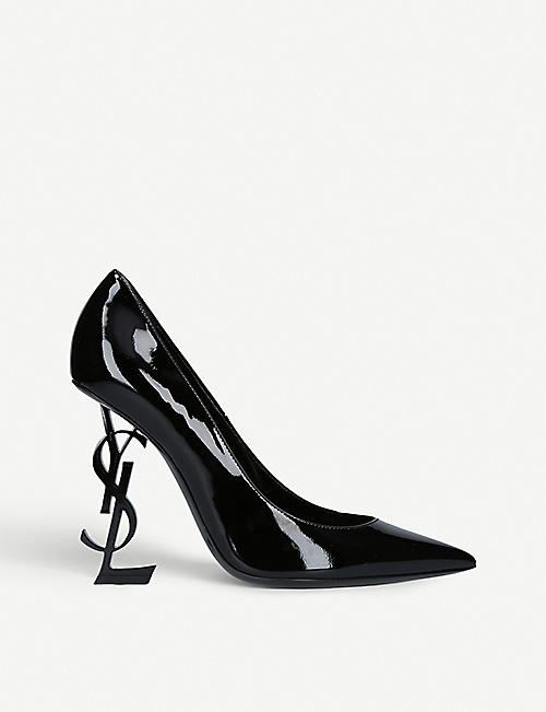 SAINT LAURENT: Opyum logo heel patent leather courts