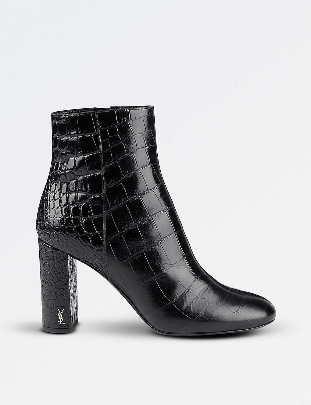a0b7617d5ff SAINT LAURENT - Loulou 95 crocodile-embossed leather heeled ankle ...