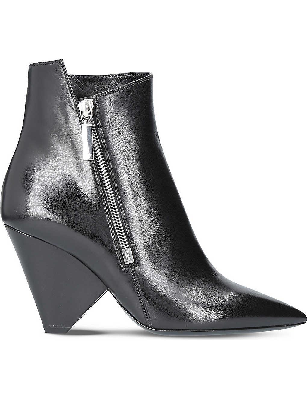 873a5b03c7b SAINT LAURENT - Niki 85 leather heeled ankle boots   Selfridges.com