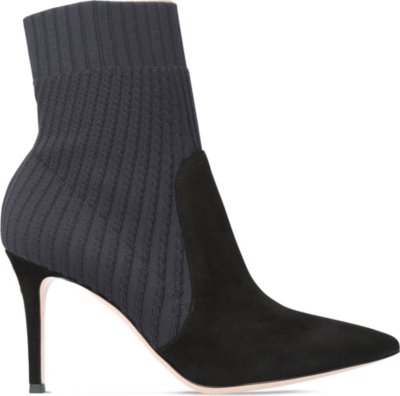 GIANVITO ROSSI Katie 85 knit and suede ankle boots