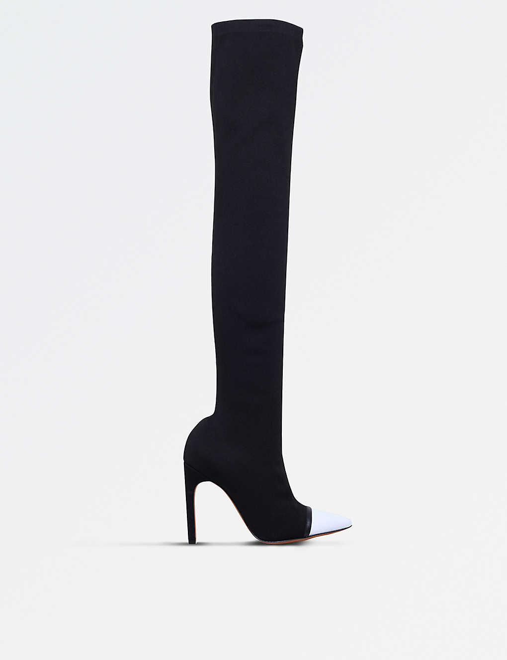 c637b42f8496 GIVENCHY - Leather and ribbed-knit over-the-knee heeled boots ...