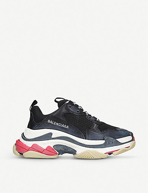 faf26cd4b91f BALENCIAGA Triple S leather and mesh trainers