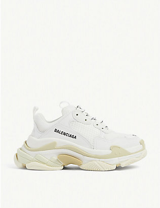 BALENCIAGA: Triple S suede and mesh trainers