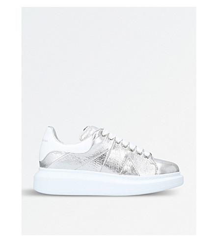 Cracked Metallic Leather Platform Sneakers, Silver