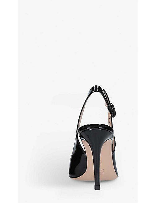 GIANVITO ROSSI Anna 85 patent-leather slingback courts