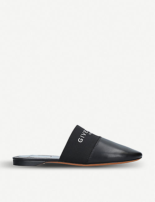 f742ebdd68e6 GIVENCHY Bedford logo-print leather backless mules