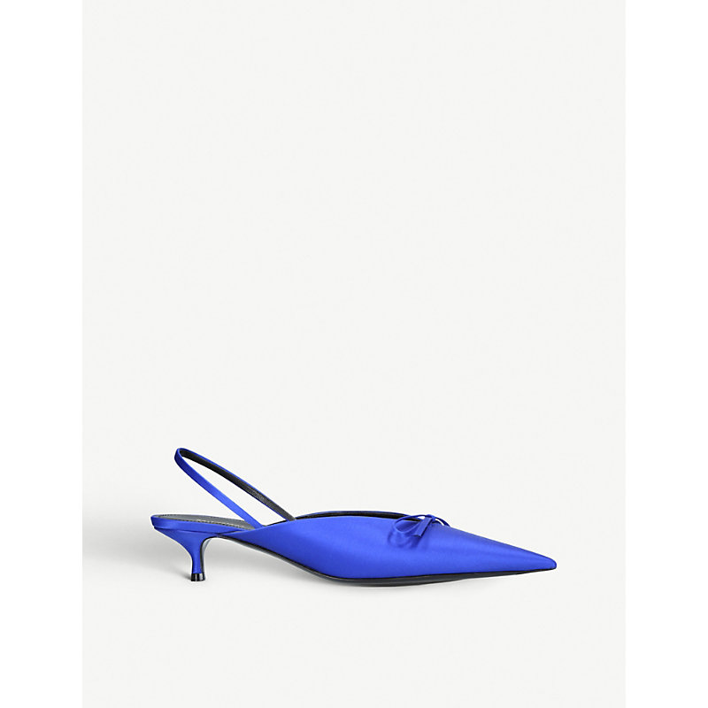 BALENCIAGA   Balenciaga Ladies Blue Knife Satin Slingback Courts Shoes EUR 38.5 / 5.5 UK WOMEN   Goxip