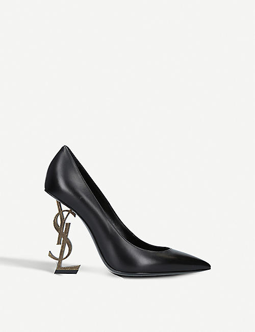 Pumps & High Heels for Women On Sale in Outlet, Black, Embossed Leather, 2017, 3.5 Saint Laurent