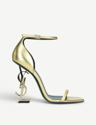 SAINT LAURENT Opyum 110 metallic-leather heeled sandals