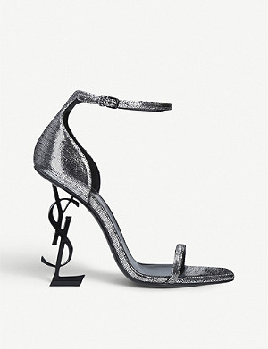 SAINT LAURENT Opyum 110 metallic leather-heeled sandals