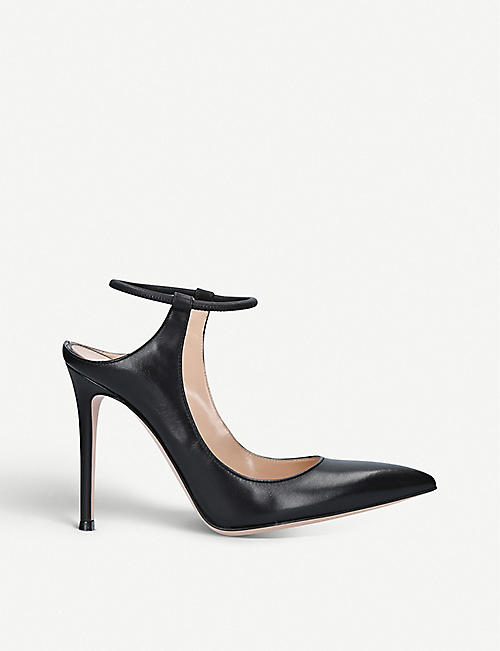 FENDI: Karen pointed-toe leather courts