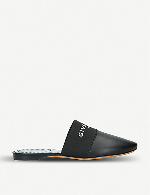 GIVENCHY: Bedford logo-print leather backless mules