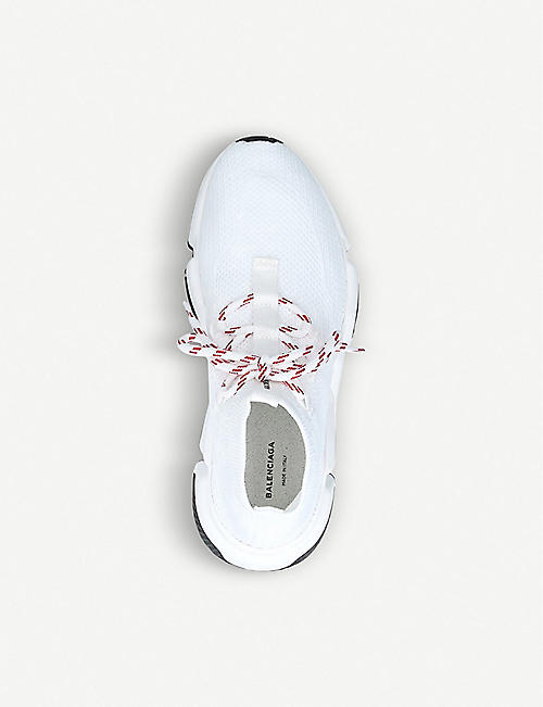 BALENCIAGA Speed woven lace-up mid-top trainers