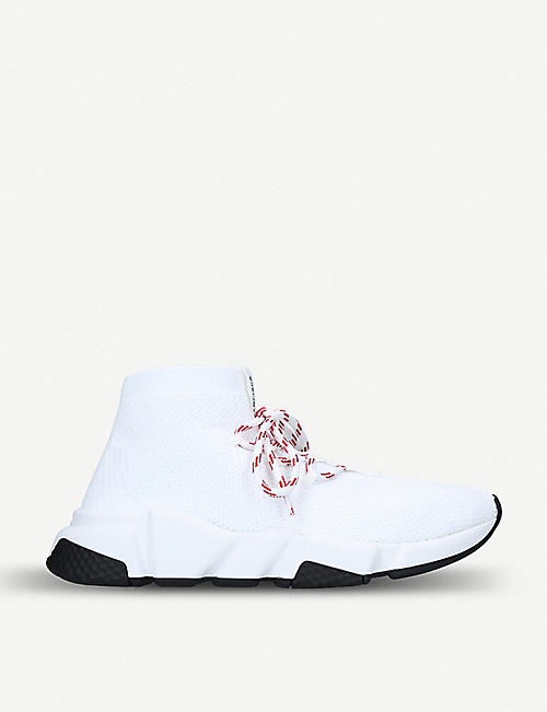 088981bee8de BALENCIAGA Speed woven lace-up mid-top trainers