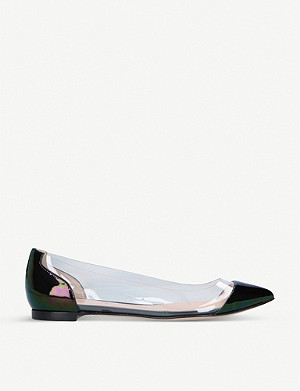 GIANVITO ROSSI Plexi patent-leather flats