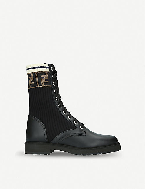 FENDI: Rockoko leather and knitted biker boots