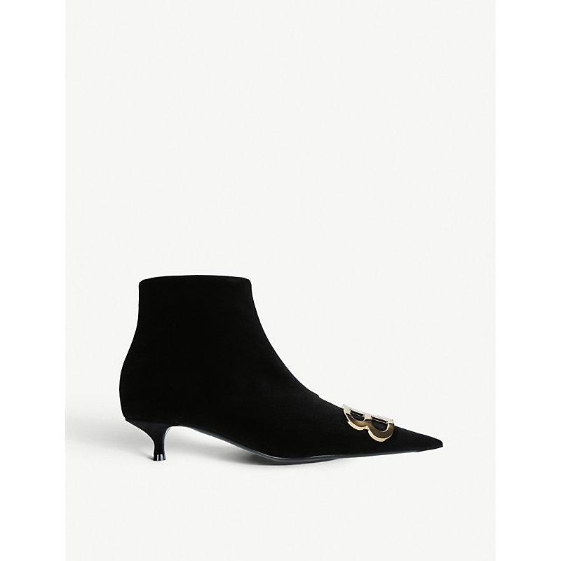 BALENCIAGA   Balenciaga Ladies Black BB Embellished Velvet Ankle Boots EUR 39 / 6 UK WOMEN   Goxip
