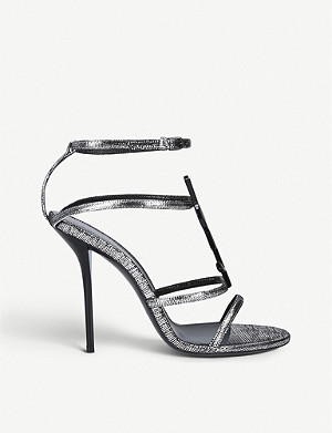 SAINT LAURENT Cassandra metallic leather sandals