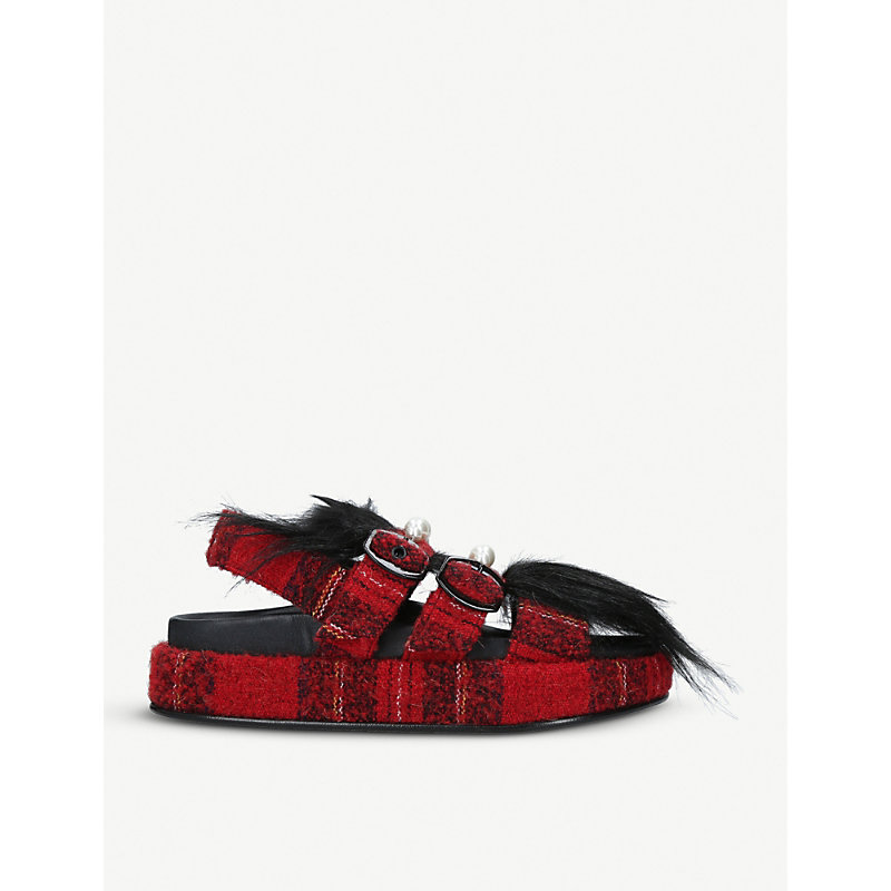 SIMONE ROCHA CHECKED WOVEN AND FAUX-FUR SANDALS