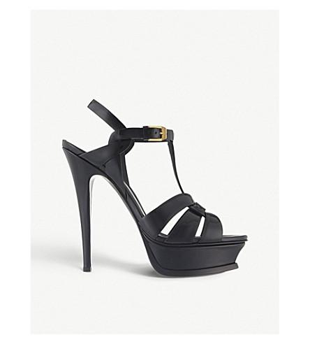 8834838e0b518 SAINT LAURENT Tribute 105 patent-leather heeled sandals (Black