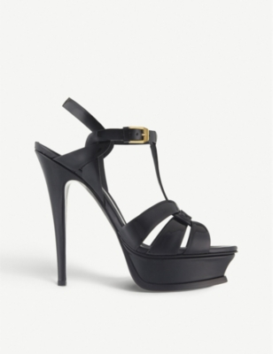SAINT LAURENT Tribute 105 patent-leather heeled sandals