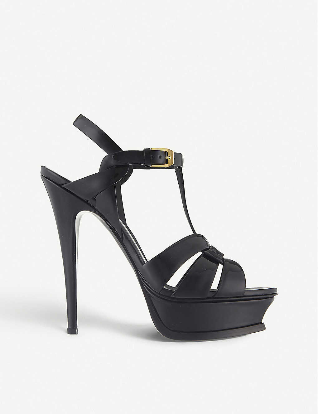 SAINT LAURENT: Tribute 105 patent-leather heeled sandals
