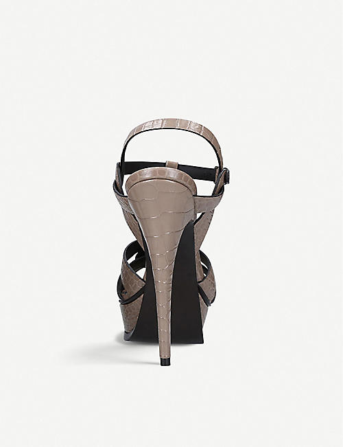 SAINT LAURENT Tribute croc-embossed leather heeled sandals