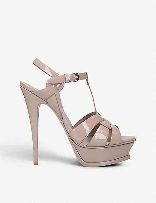 SAINT LAURENT: Tribute 105 patent-leather platform sandals