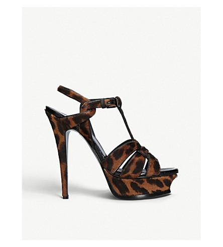 ab38469e9a80 SAINT LAURENT Tribute leopard-print calf-hair platform sandals (Dk.brn+