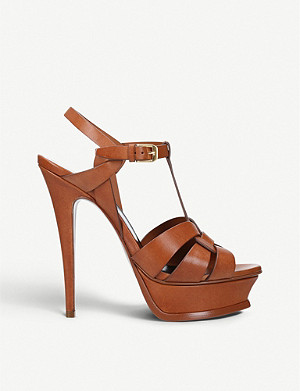 SAINT LAURENT Tribute 105 leather platform sandals