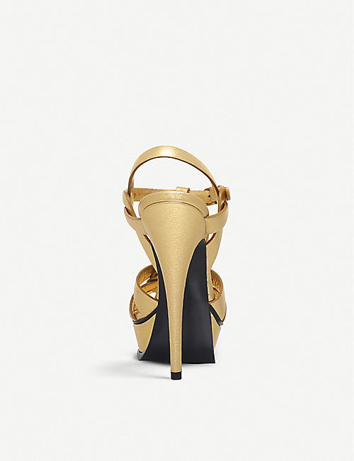 SAINT LAURENT Tribute leather heeled sandals