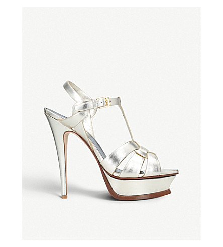 c927fa1d10776 SAINT LAURENT Tribute 105 leather heeled sandals (Metal comb