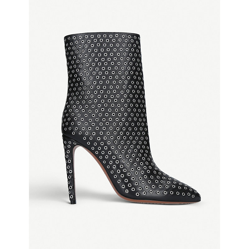 ALAIA | Rivet 110 Leather Ankle Boots | Goxip