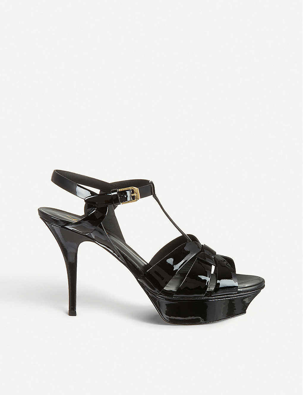 SAINT LAURENT: Tribute 75 patent-leather heeled sandals