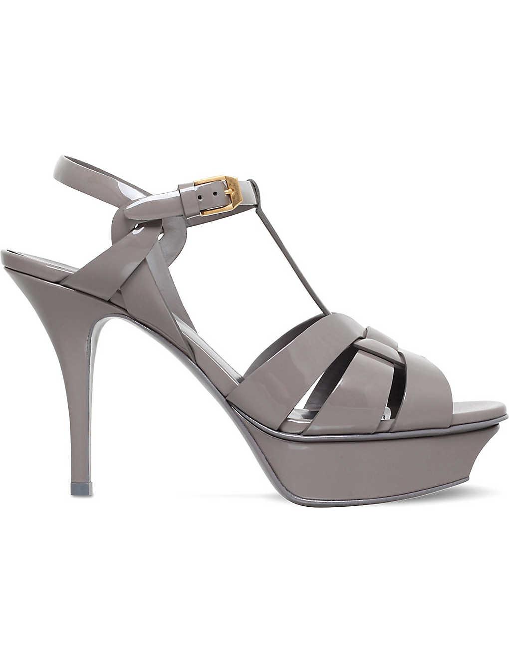 99191ff28e8 SAINT LAURENT - Tribute 75 patent-leather platform sandals ...